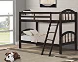 Harper&Bright Designs Twin-Over-Twin Solid Hardwood Bunk Bed (Espresso)