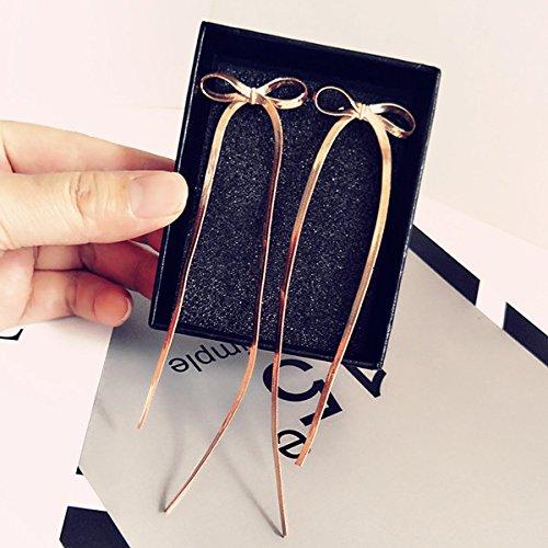 Red explosion models mesh bow 18k metal tassel earrings temperament long tassel earrings ear jewelry full fall 18k Mesh Earrings