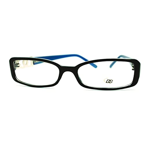c2086ea553 Amazon.com  DG Eyewear Clear Lens Glasses Womens Rectangular Eyeglasses  Blue  Clothing