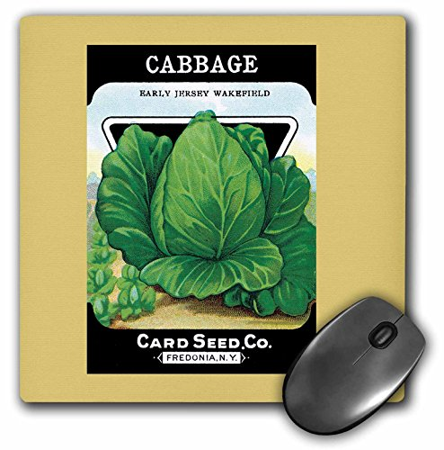 3dRose Cabbage Early Jersey Wakefield Seed Packet from Card Seed Company Mouse Pad - Cabbage Seed Packet