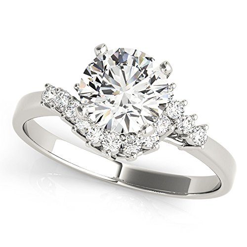 Scintilenora Curved Tapered Shank GIA Cerified Diamond Engagement Ring 18k Gold 1 1/3 TDW