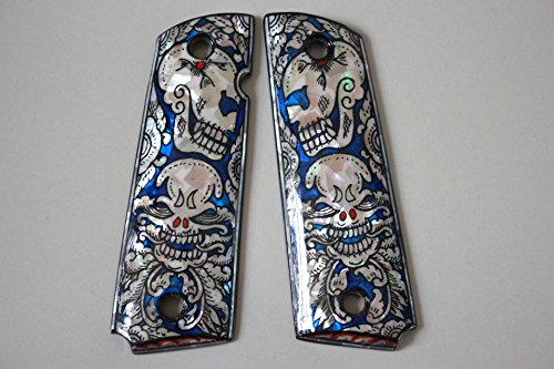 Skull art blue Mother of Pearl MOP grips Fits 1911 Standard full size Colt Government and Commander Kimber, Springfield, Remington, Taurus PT 1911, Smith&Wesson by Handmade