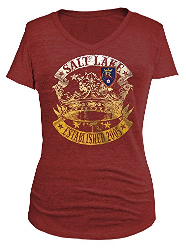 MLS Real Salt Lake Women's Tri-Blend Short Sleeve V-Neck Tee, Red, - Women Real Tri