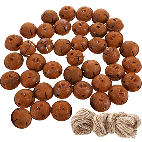 40 Pieces Christmas Rusty Jingle Bells Rustic Metal Bells Craft Bells with Star Design and Twine for Christmas Wreath Craft Decoration Supplies (1.57 Inches) (Christmas Rustic Bells)
