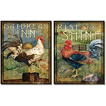 WallsThatSpeak 2 Retro Rooster Rustic Art Prints Country Kitchen Decor, 8 by 10-Inch, Green