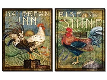 Wallsthatspeak 2 Retro Rooster Rustic Art Prints Country Kitchen Decor 8 By 10 Inch