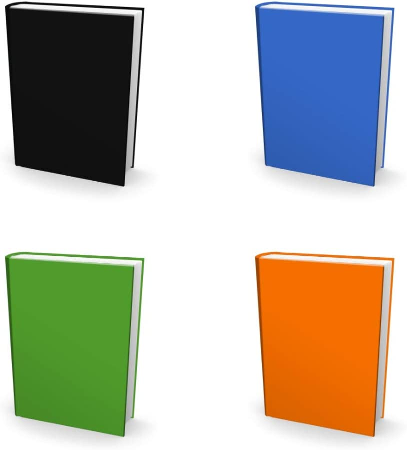 Easy Apply, Reusable Book Covers 4 Pk. Best 8x10 Textbook Jackets for Back to School. Stretchable to Fit Most Medium Hardcover Books. Perfect Fun, Washable Designs for Girls, Boys, Kids and Teens