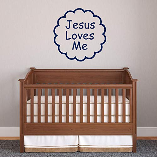BYRON HOYLE Jesus Loves Me Wall Decal - Vinyl Wall Words Religious Spiritual Kids Room Baby Room Decor Scalloped Circle Border Frame - Scalloped Frame Card Place