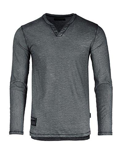 ZIMEGO Dream Supply Mens Long Sleeve V-Neck Henley Oil Wash Contrast Seam Vintage Shirt