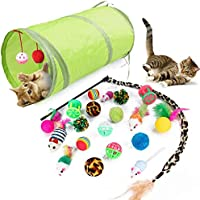 PiPiBird 21 Pcs Cat Toys Kitten Toys Assortments, Green 2 Way Tunnel, Colorful Balls/Drum/Mouse/Feathered Golf Balls and A Leopard Print Wand Interactive Feather Toy for Cat Puppy Kitty