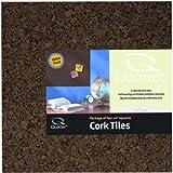 """Quartet Cork Tiles, 12"""" x 12"""", Corkboard, Mini Wall Bulletin Boards, Dark Brown, 4 Pack (15050Q)"""