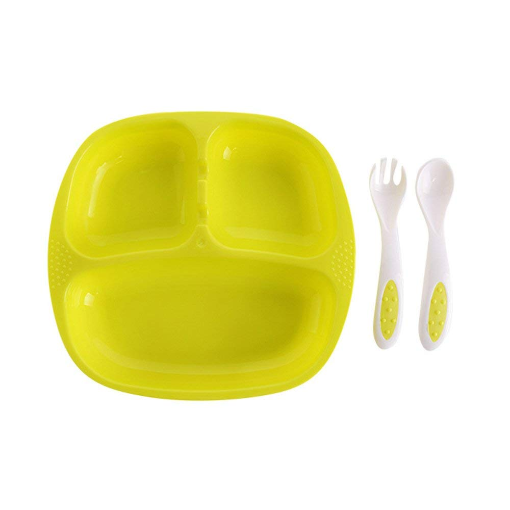 Yevison Kids Plates,3 Divided Baby School Children Dish Tray Cutlery Utensils with Spoon and Fork,BPA Free Durable Suitble for Home and School Toddlers Yellow Durable and Practical