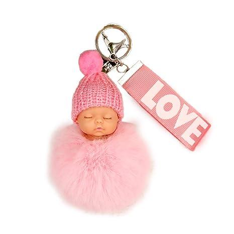 Bolso de llavero Llavero creativo muñeca del bebé mini bola ...