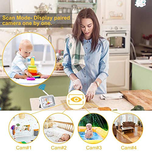 """515MjpoSQnL - LBtech Video Baby Monitor With Two Cameras And 4.3"""" LCD,Auto Night Vision,Two-Way Talkback,Temperature Detection,Power Saving/Vox,Zoom In,Support Multi Camera"""