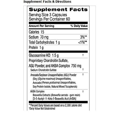 Cosamin ASU Joint Health Supplement 180 Caps, New & Improved Formula Features Glucosamin Hcl, Chondroitin Sulfate, Asu, and Akba