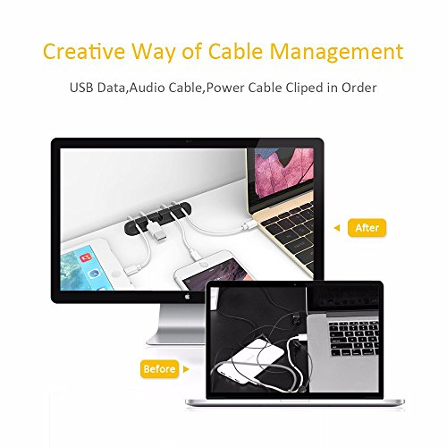 Cable Clips Cord Management Organizer, 3 Packs Adhesive Hooks, Wire Cord Holder for Power Cords and Charging Accessory Cables, Mouse Cable, PC, Office and Home (7, 5 and 3 Slots)
