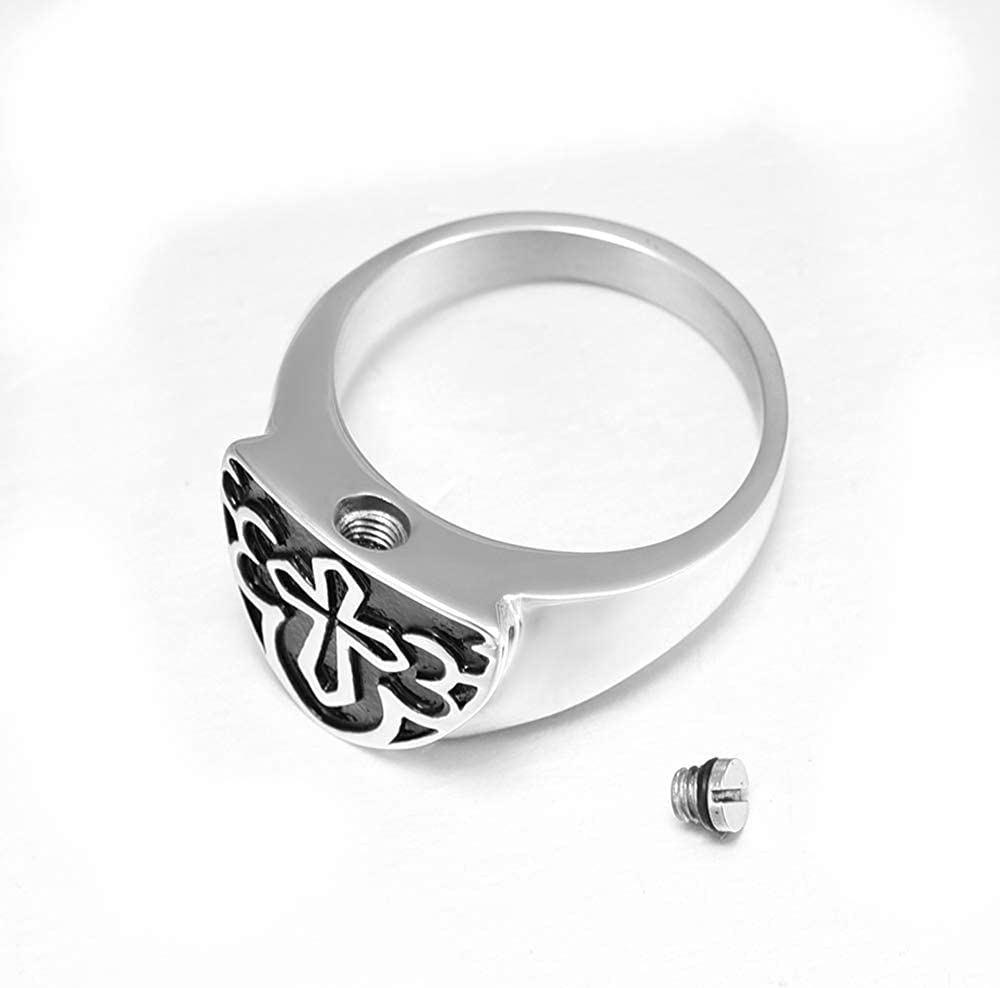 shajwo Cremation Urn Ring Jewelry for Ashes Engraved Cross Memorial Urn Ring Stainless Steel Celtic Knot Retro Keepsake Ashes Holder Ring,Size 6-10