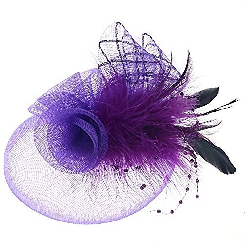 (Navifoce Fashion Women's Flower Feather Mesh Net Fascinator Beaded Cocktail Headwear with Hair Clip and Brooch (Light Purple))