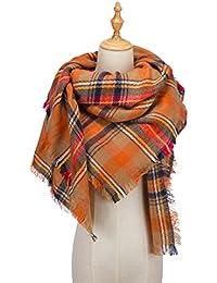 Women's Tassels Soft Plaid Tartan Scarf Winter Large...