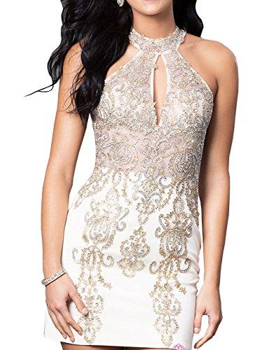 Erosebridal Kurzes Embellished Hohes Abendkleid Neck Weiß ASgAwrq