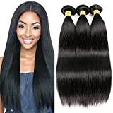 Cheap Alica 7A Grade Brazilian Virgin Hair Straight 3 Bundles Human Hair Weave Extensions 100% Unprocessed Human Hair Weave Bundles 300g (18″ 18″ 18″, Natural Color) …