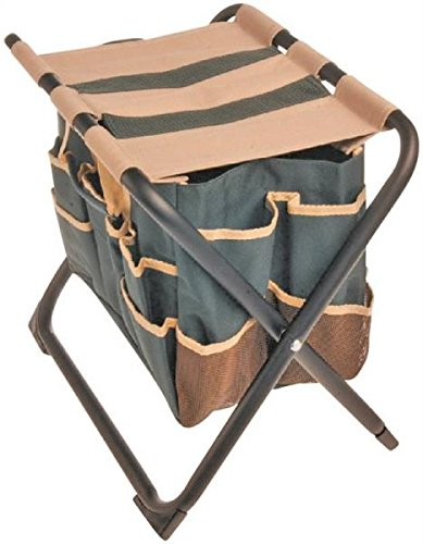 Rocky Mountain Goods Folding Garden Stool with Detachable Canvas Bag - Holds up to 350 lbs - Perfect height for weeding - Tote keeps tools close at hand - Heavy duty metal frame and canvas
