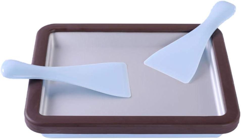 VERLOCO Rodar Helado Maker con 2 Cuchillas Doctoras, Placa De Yogurt Frito, Congelado Rápido Condensación, Helado Casero De Yogurt Saludable Y Delicioso, Material Calidad Alimentaria 29 X 24 X 5 Cm