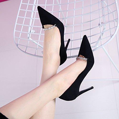 GTVERNH-Koreanische Version Aus Metall - Kette Flachen Flachen Flachen Mund Hat Und Neue Schuhe Schwarze Schuhe Alles Passt Gut Mit Hochhackige Schuhe 9Cm,35,Schwarz - bfd0de