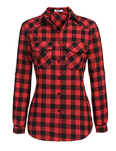 Zeagoo Womens Plaid Shirt, Roll up Sleeve Casual Boyfriend Button Down Tartan Flannel Shirt,Red,Small