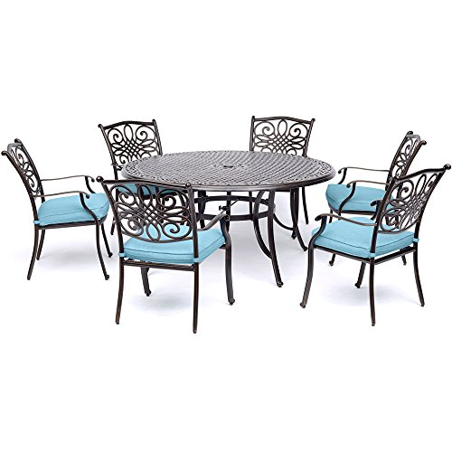 Hanover TRADDN7PCRD-BLU Traditions 7 Piece Six Chairs and a Cast-Top Table Dining Set, 60
