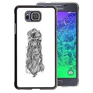 A-type Arte & diseño plástico duro Fundas Cover Cubre Hard Case Cover para Samsung ALPHA G850 (Hair Portrait Woman Sketch White Black)
