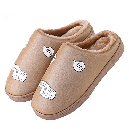 cuero de la PU Impermeable zapatillas de casa-Unisexo invierno calentar felpa Botín con los zapatos Caf¨¦