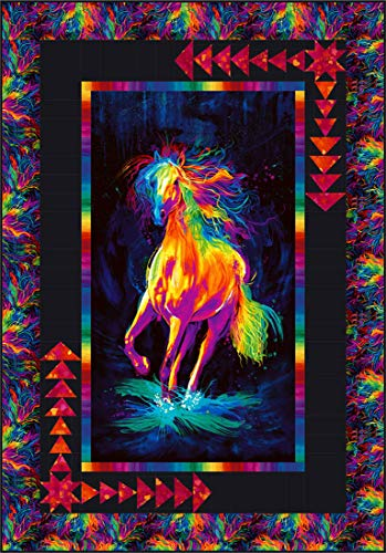 (Painted Horse Around The Bend Quilt Kit, Timeless Treasures Fabrics, Pattern by Broome Street Patterns, 41.5