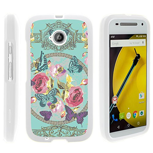Motorola Moto E (2nd Generation) Case, Perfect Fit Cell Phone Case Hard Cover with Cute Design Patterns for Motorola Moto E LTE 2nd Generation XT1511, XT1257 (Boost Mobile, Cricket, Sprint, Verizon, Virgin Mobile) from MINITURTLE | Includes Clear Screen Protector and Stylus Pen - Royal Flowers and Butterfly