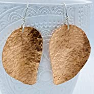 B JANECKA Copper Leaf Earrings, Wearable Art, Artisan Crafted in USA, 7th Anniversary Gift