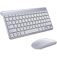 Juego de teclado y mouse inalámbricos, teclado ergonómico de 78 teclas y mouse con conexión inalámbrica de 2,4 G, receptor USB delgado teclado inalámbrico para ordenadores de computadora, ordenadores portátiles