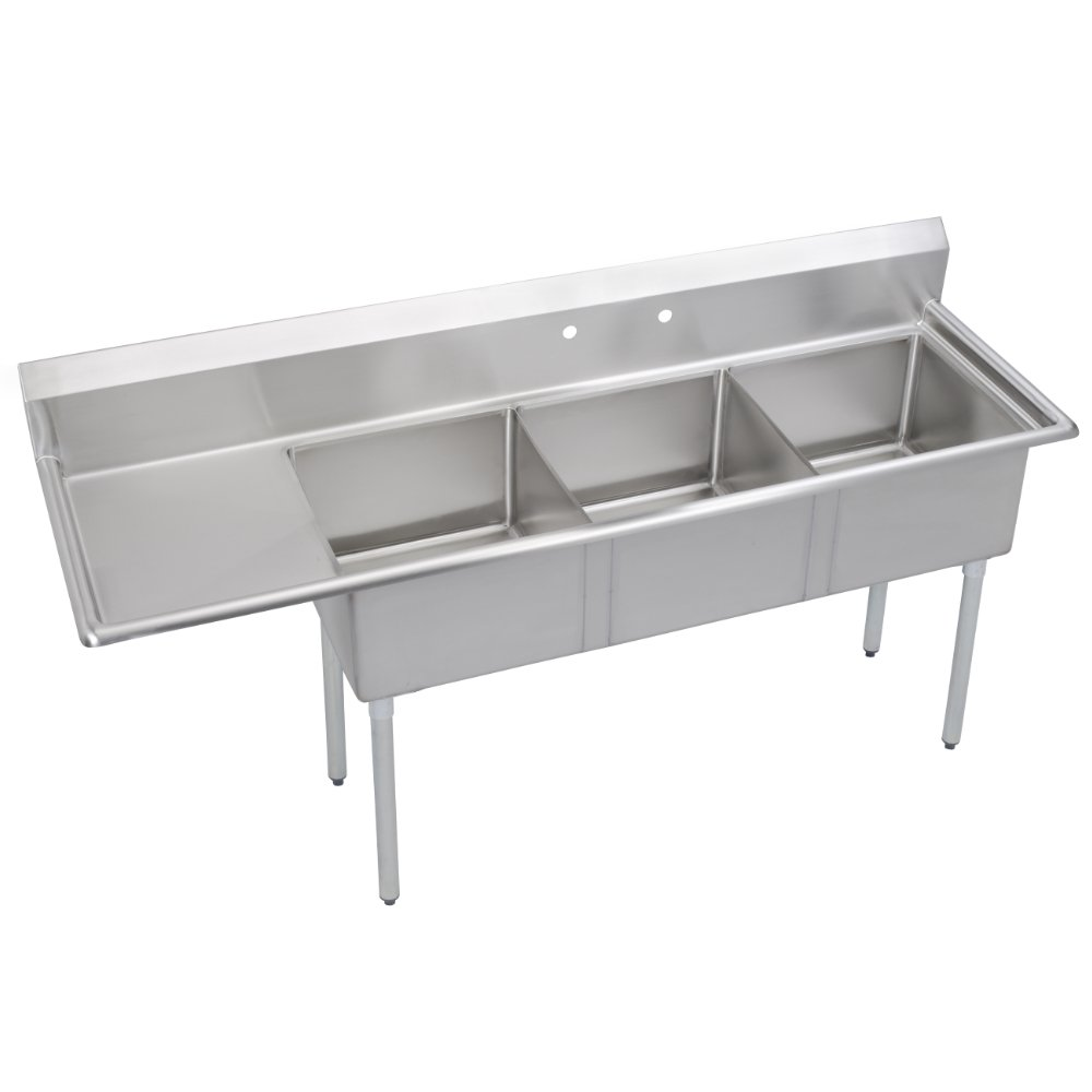 Fenix Sol 18G-3C10X14-L12 Three Compartment Stainless Steel Sink, Bowl: 10''L x 14''W x 10''D, Overall Size: 44.5''L x 20''W x 43.75''H, 1 x 12'' Left Drainboard, Galv Legs