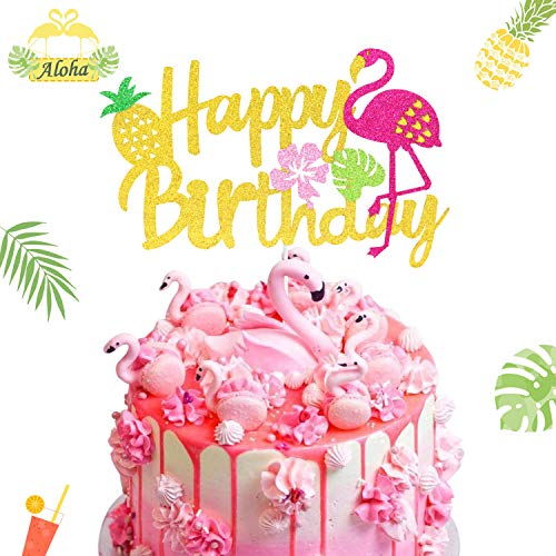 Flamingo Cake Topper Happy Birthday Decorations Hawaiian Theme Pineapple Palm Leaf Tropical Party Supplies Pink Glitter Decor(Double-sided )