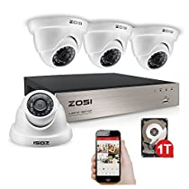 ZOSI 4CH 1080P HD-TVI DVR Recorder HDMI With 4X 1980TVL Surveillance Security Dome Camera System 1TB hard Disk -65feet Night Vision -IR Cut built in -Quick Remote Access (Certified Refurbished)