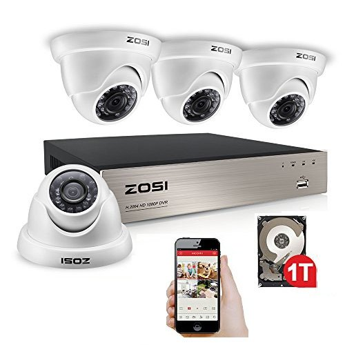 Cheap ZOSI 4CH 1080P HD-TVI DVR Recorder HDMI With 4X 1980TVL Surveillance Security Dome Camera System 1TB hard Disk -65feet Night Vision -IR Cut built in -Quick Remote Access (Certified Refurbished)