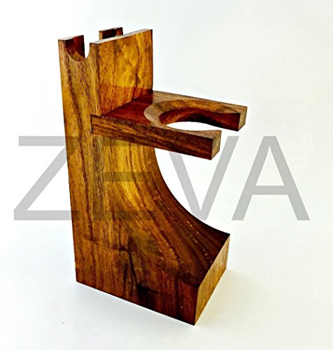 Straight Razor And Brush Stand Holder Mission Style Wood Safety & Brush Stand Walnut Finish