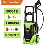 Jaketen 3000 PSI High Pressure Washer Electric Power Washer 1.8 GPM 1800W Sprayer Cleaner Machine with 5 Quick-Connect Spray Nozzles [US STOCK] (3000 PSI - 1800W)