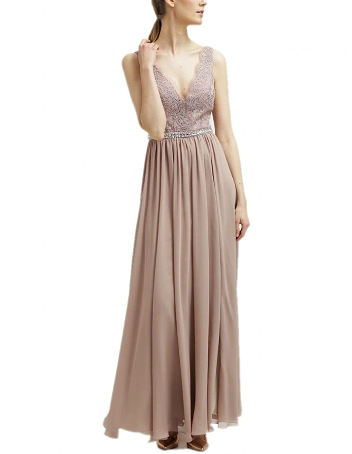 Charm Bridal Long Champagne Sexy Deep V Neck Women Evening Bridesmaid Dress