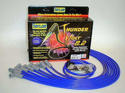 Taylor Cable 86630 ThunderVolt 8.2mm Ignition Wire Set Spiro Wound Race Fit 90 deg. HEI Under Header Blue ThunderVolt 8.2mm Ignition Wire Set