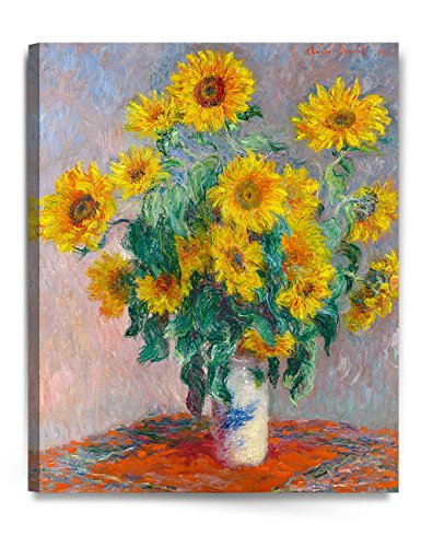 DECORARTS Monet Sunflowers, Claude Monet Art Reproduction, Giclee Canvas Prints Wall Art for Home Décor, 30'' L x24