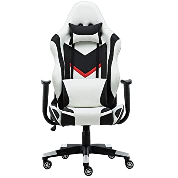Silla Racing E-Sports Girar Malla Espalda Alta Ergonómico Café Internet Elevador reclinable Cuero Masaje Lumbar Video Game Office Deluxe Computer Chair, ...