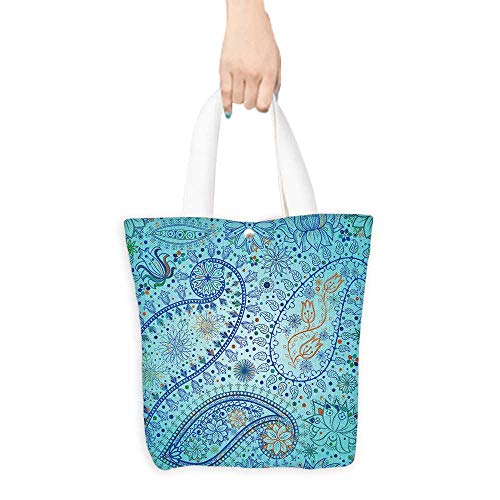 Pattern Shopping Bag Vintage floral motif ethnic seamless background Abstract lace pattern Hand drawing colorful wallpaper (W15.75 x L17.71 Inch)