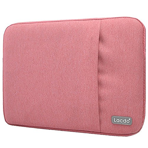 Lacdo 11 - 11.6 Inch Water Resistant Laptop Sleeve Case for Apple MacBook Air 11.6-inch | Surface Pro 4, 3 | Acer Dell HP Lenovo Samsung Asus Chromebook Protective Ultrabook Tablet Notebook Bag, Pink (Laptop Carry Pink Case)