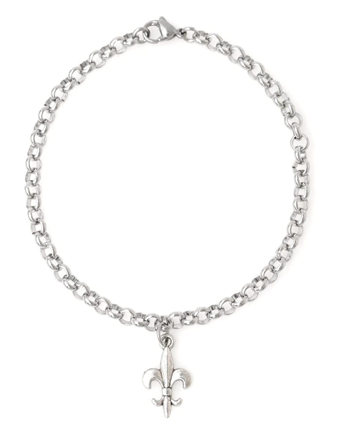 "It's All About...You! Adjustable 8.5"" Stainless Steel Bracelet with Alloy Fleur De Lis. Personalize with Clip on Charms (De Lis) 66O"