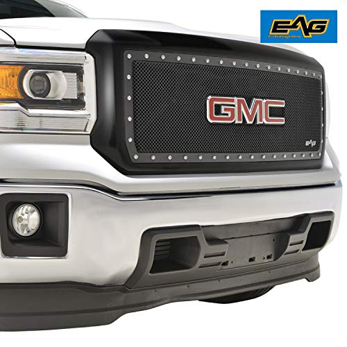 EAG Evolution All Black Stainless Steel Wire Mesh Packaged Grille with OE GMC Emblem Housing Fit for 14-15 GMC Sierra 1500